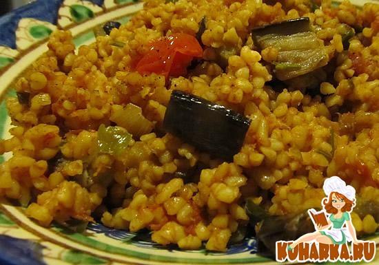 Рецепт Пилав из булгура с томатами и баклажанами