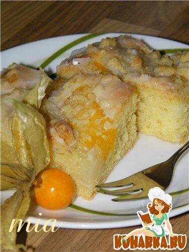 Рецепт Нежный пирог с персиками и грушами