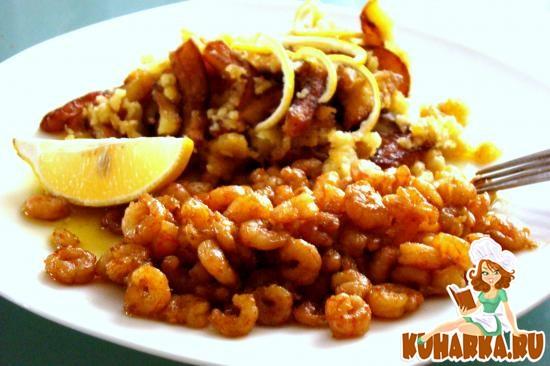 Рецепт Картофель, типа в кляре, с креветками, прожареными в соевом соусе
