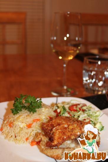 Рецепт Жареная рыба в сухарях и жареный рис