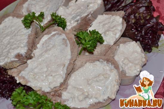 Рецепт Язык под чесночно-ореховым соусом