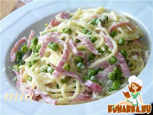 Рецепт Спагетти в сливочном соусе с горошком и ветчиной