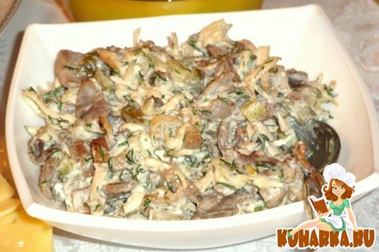 Рецепт Грибной салат с куриной грудинкой