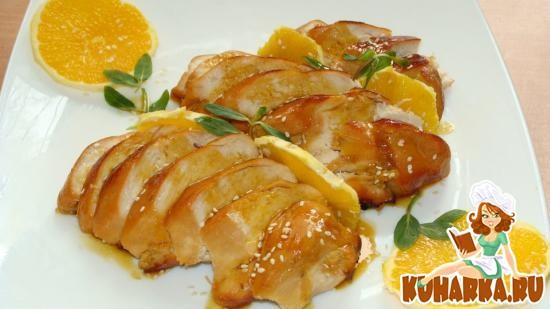 Рецепт Куриные грудки под медово-апельсиновым соусом до