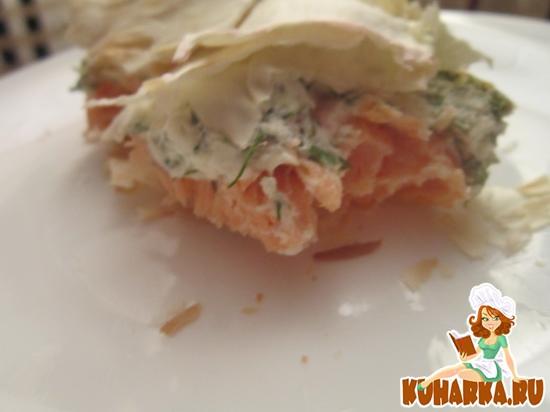 Рецепт Запеченная семга под творожным сыром в лаваше