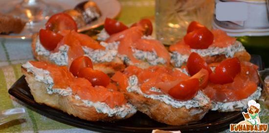 Рецепт Закусочные бутерброды с семгой