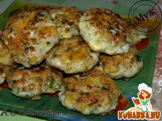 Рецепт Рубленые куриные котлетки с сыром и зеленью