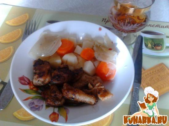 Рецепт Судак жареный с отварным картофелем с овощами