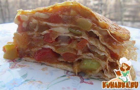 Рецепт Пирог из яичных блинчиков с кабачковой начинкой