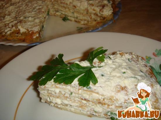 Рецепт Закусочный блинный торт c брынзой