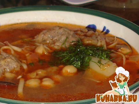 Рецепт Суп с фрикадельками, лапшой и горохом нут