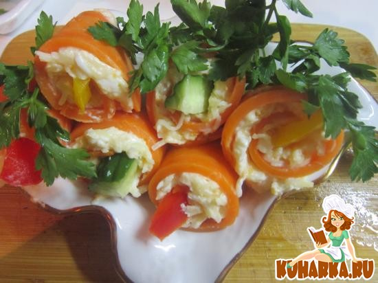 Рецепт Закусочные рулетики из моркови