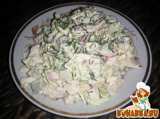 Рецепт Салат Пикантная курица с листьями салата