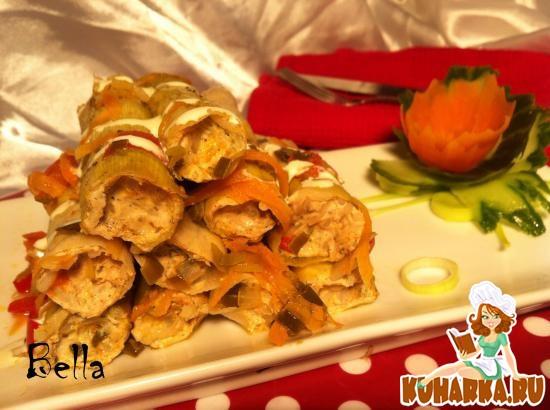 Рецепт Лук-порей, фаршированный курицей