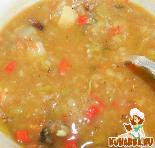 Рецепт Гороховый суп с перловкой и грибами