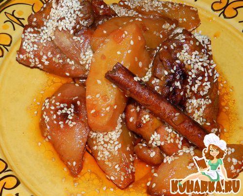 Рецепт Тажин из курицы с медовыми грушами
