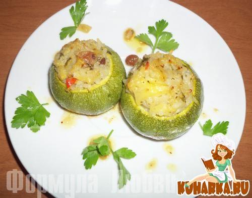 Рецепт Цуккини, фаршированные пикантным рисом.