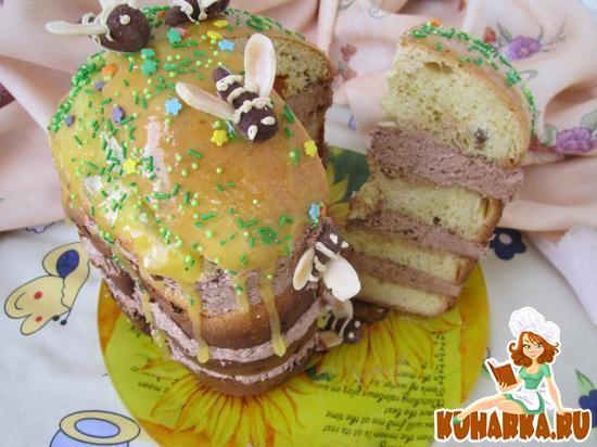 Рецепт Медовый кулич с шоколадным кремом.