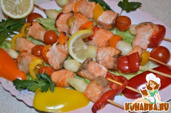 Рецепт Шашлык из семги с овощами