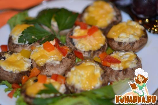 Рецепт Фаршированные шампиньоны творожным сыром, перцем и балыком