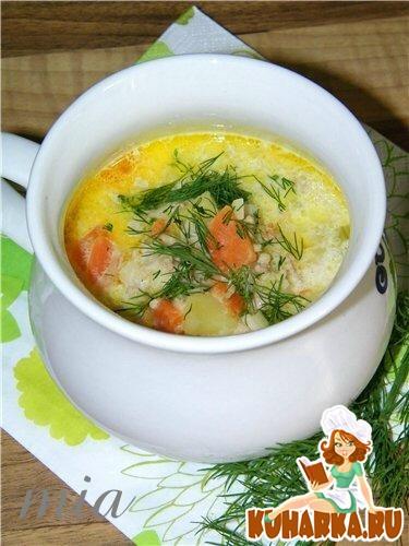 Рецепт Сырный суп с фаршем и пореем (Hackfleisch-Lauch-Kaese-Suppe)