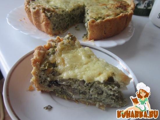 Рецепт Сырный пирог с щавелем и шпинатом
