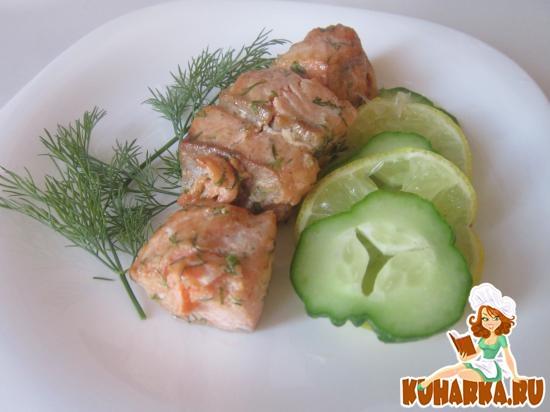 Рецепт Шашлыки из лосося у в укропно-горчичной заливке
