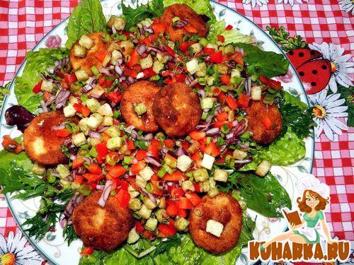 Рецепт Зеленый салат с козьим сыром и сухариками