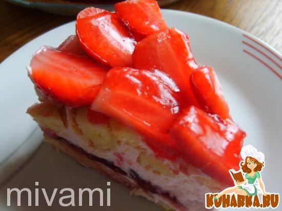 Рецепт Весенний тоортик с клубникой-Fruilingskuchen mit Erdbeeren