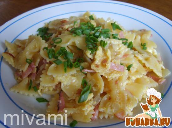 Рецепт Макароны с ветчиной и яйцом-Schinken Nudeln mit Ei