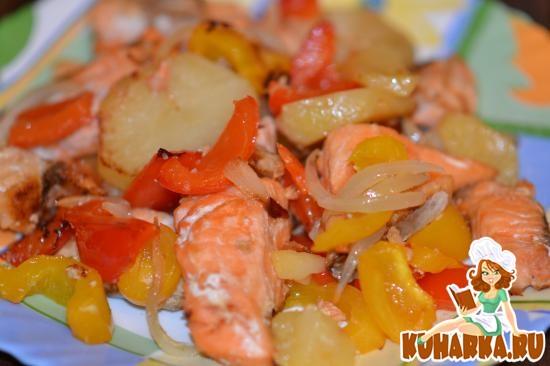 Рецепт Форель запеченная с овощами