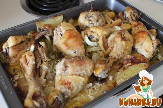 Рецепт Запеченные овощи с куриными ножками