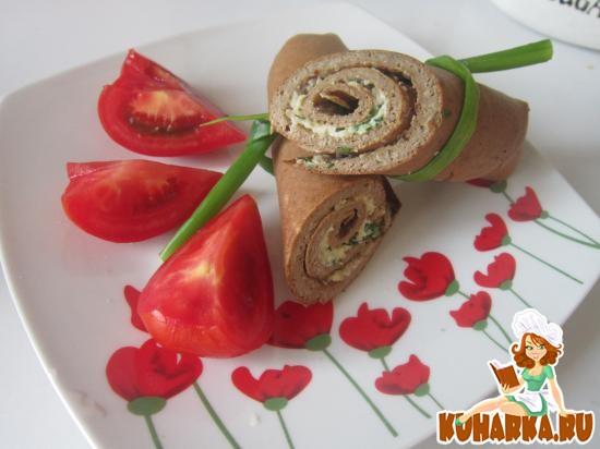 Рецепт Рулетики из печени с начинкой из сыра