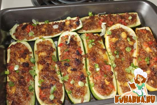 Рецепт Кабачки, фаршированные помидорами и фаршем