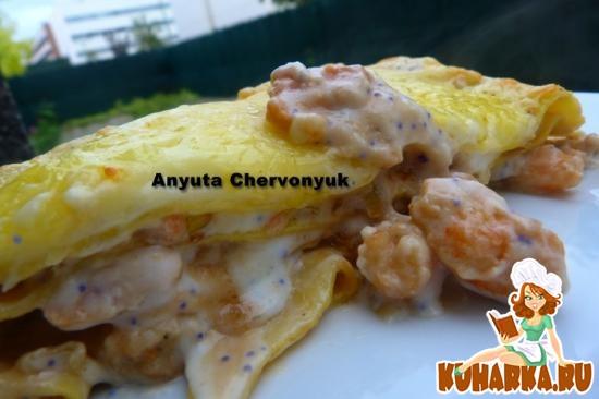 Рецепт Лазанья с копчёной рыбой и креветками.