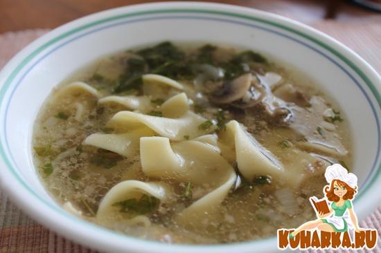 Рецепт Грибной суп с пастой и говядиной