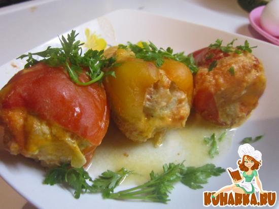 Рецепт Фаршированные перцы фаршем и капустой