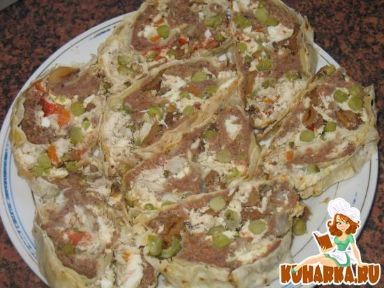 Рецепт Рулет из лаваша (запеченный) с утиным и куриным мясом