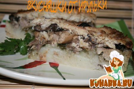 Рецепт Картофельная запеканка с грибами, курицей и шпинатом