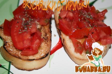 Рецепт Брускетта с помидором и базиликом