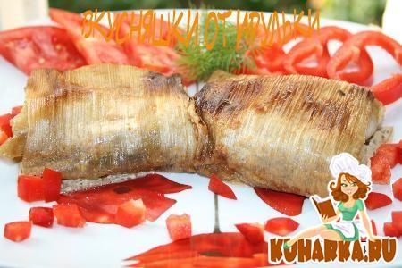Рецепт Свинина в конвертике из лука-порея с грибами