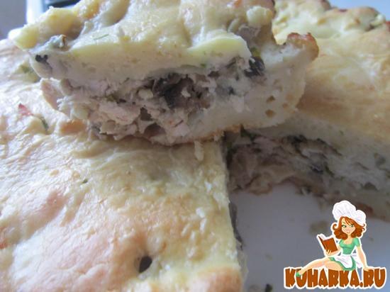 Рецепт Быстрый пирог с курицей и грибами