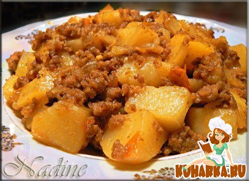 Рецепт Картофель с мясным фаршем и пряностями