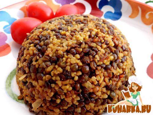 Рецепт Маджадра из булгура с черной чечевицей