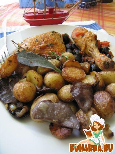 Рецепт Куриные окорочка в маслинах, с жареной картошечкой и грибами