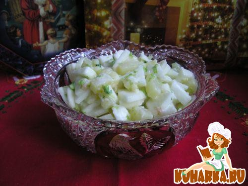 Рецепт Салат Новогодний с сельдереем, ананасом и яблоком