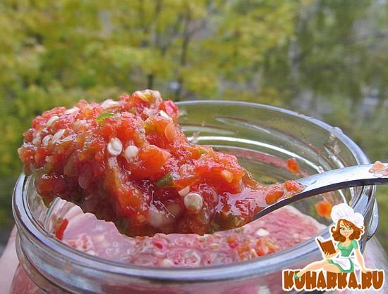 Рецепт Острая аджика с болгарским перцем