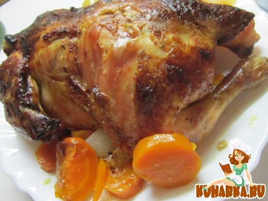 Рецепт Курица, запеченная с апельсинами, имбирем и овощами