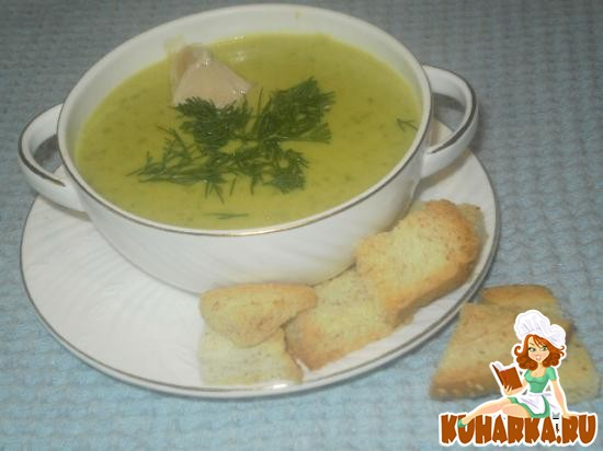 Рецепт Сырный суп-пюре с зеленым горошком
