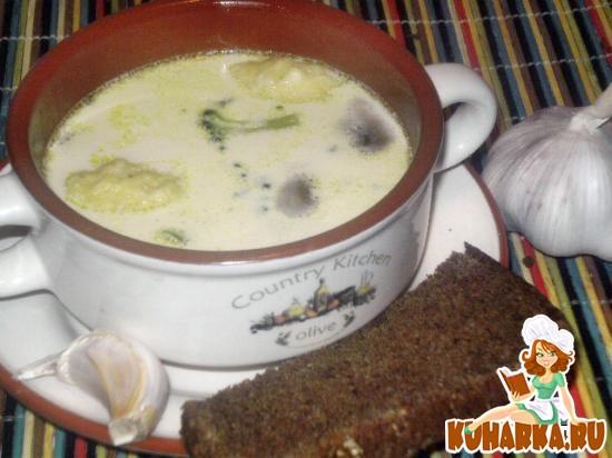 Рецепт Сливочный грибной суп с брокколи